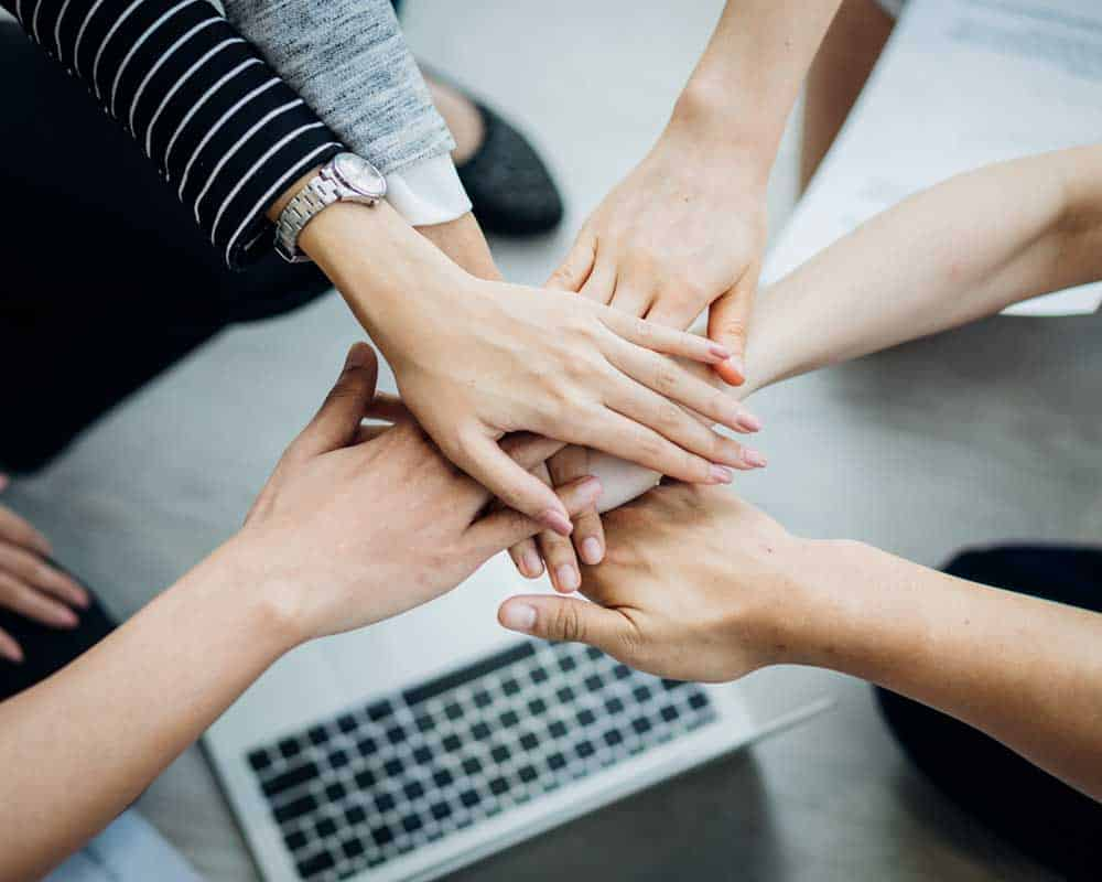 Teamwork business join hand together concept, Business team stan