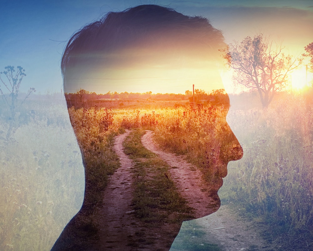 Man silhouette on rural landscape background. Psychiatry and psy